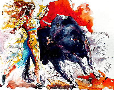 Red Abstract Painting - Female Bullfighter by Steven Ponsford