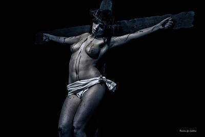 Female Christ Photograph - Female Christ In Dark I by Ramon Martinez