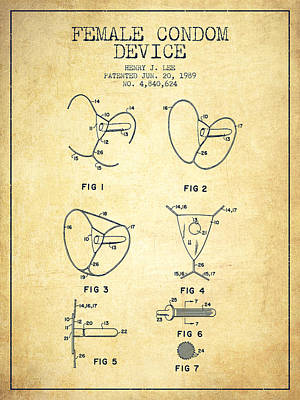 Condom Drawing - Female Condom Device Patent From 1989 - Vintage by Aged Pixel