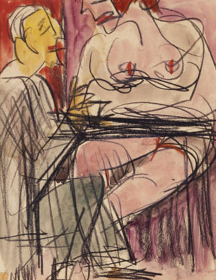 Female Nude And Man Sitting At A Table Print by Ernst Ludwig Kirchner