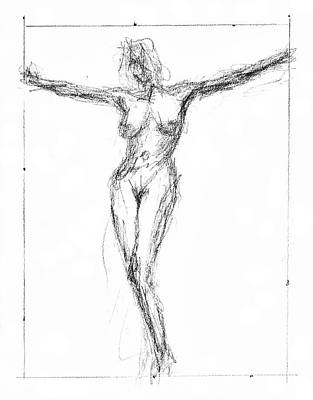 Female Nude In The Pose As Jesus Christ Crucifix  - Pencil Drawing Print by Nenad Cerovic