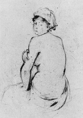 Bust Drawing - Female Nude Seen From Behind by Berthe Morisot