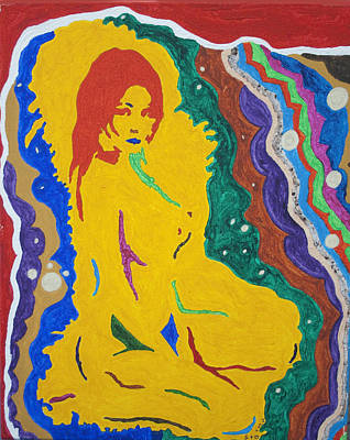 Outer Space Painting -  Nude Goddess by Stormm Bradshaw