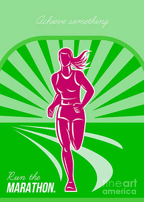 Female Run Marathon Retro Poster Print by Aloysius Patrimonio