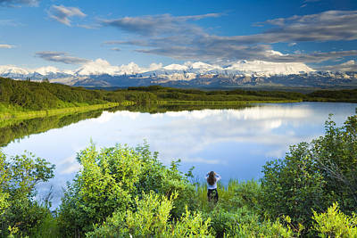 Northside Photograph - Female Tourist Viewing Mt Mckinley From by Michael DeYoung