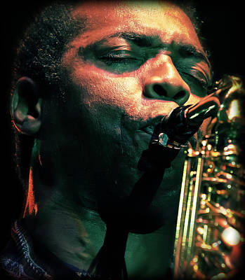 Saxophone Photograph - Femi Kuti On Saxophone  by The  Vault - Jennifer Rondinelli Reilly