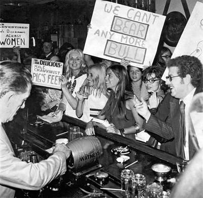 Feminists Protest  Brown's Bar Print by Underwood Archives