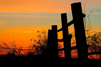 Fence Line With Vibrant Sky Print by Kirk Strickland