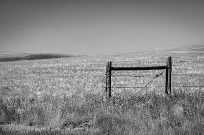 Fence Post Near Choteau Montana Bw Print by Rich Franco