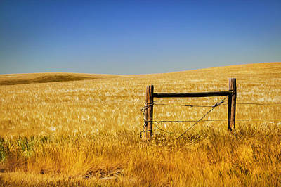 Fence Post Near Choteau Montana Painted Print by Rich Franco