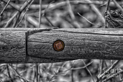 Fence Rail With Rusty Bolt Print by Thomas Woolworth