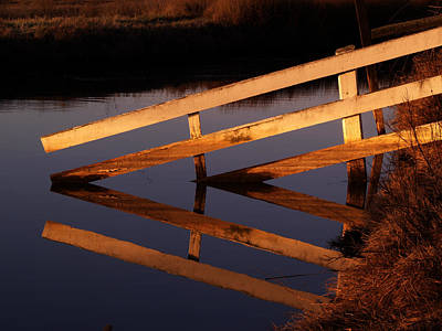 Angular Photograph - Fenced Reflection by Bill Gallagher