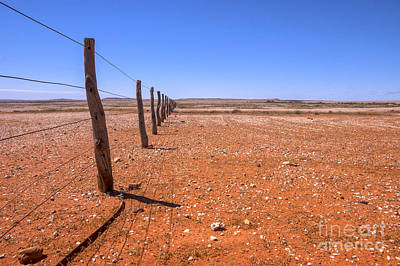 Drought Photograph - Fenceline Outback Australia by Colin and Linda McKie