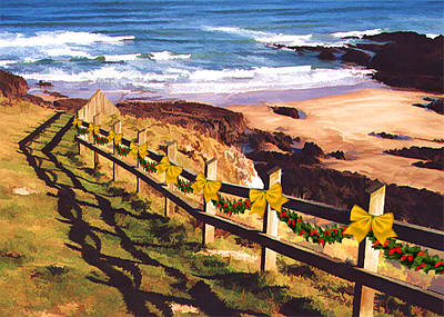 Wreath Painting - Fencing The Beach At Xmas by Elaine Plesser