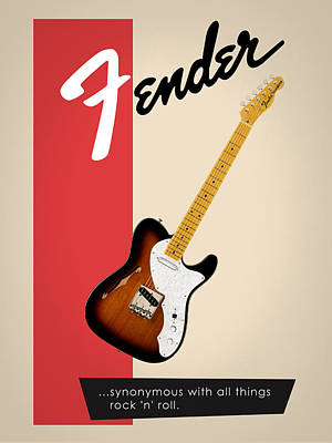 Fender All Things Rock N Roll Print by Mark Rogan