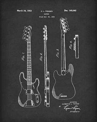 Rock And Roll Art Drawing - Fender Bass Guitar 1953 Patent Art Black by Prior Art Design