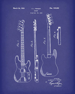 Rock And Roll Drawing - Fender Bass Guitar 1953 Patent Art Blue by Prior Art Design