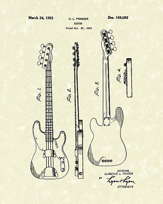 Largemouth Bass Drawing - Fender Bass Guitar 1953 Patent Art  by Prior Art Design