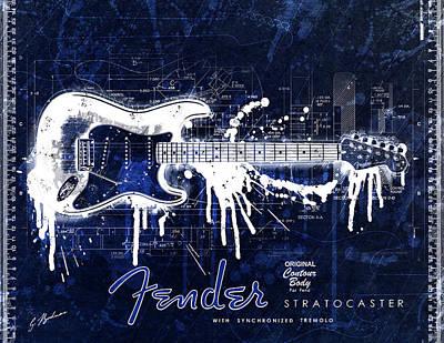 Clapton Digital Art - Fender Blueprint Washout by Gary Bodnar
