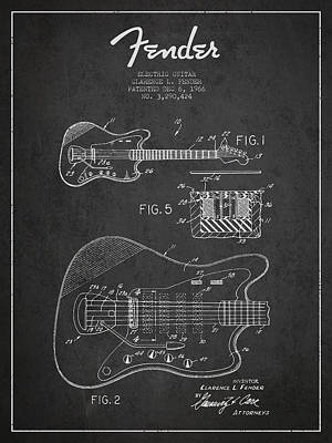 Smallmouth Bass Digital Art - Fender Electric Guitar Patent Drawing From 1966 by Aged Pixel