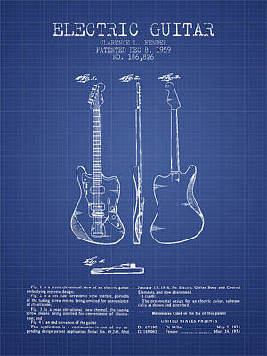 Smallmouth Bass Digital Art - Fender Electric Guitar Patent From 1959 - Blueprint by Aged Pixel