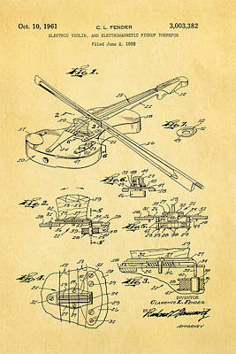 Leo Photograph - Fender Electric Violin Patent Art 1958 by Ian Monk