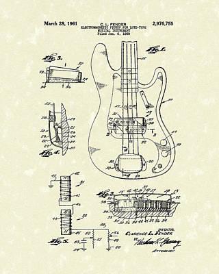 Musical Drawing - Fender Guitar 1961 Patent Art by Prior Art Design