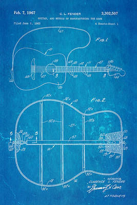 Leo Photograph - Fender Guitar Manufacture Patent Art 1967 Blueprint by Ian Monk