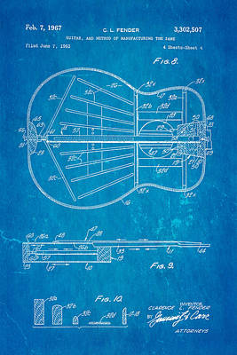 Leo Photograph - Fender Guitar Manufacture Patent Art 2 1967 Blueprint by Ian Monk