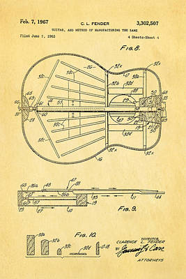 Leo Photograph - Fender Guitar Manufacture Patent Art 2 1967  by Ian Monk
