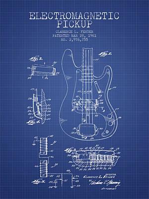 Smallmouth Bass Digital Art - Fender Guitar Patent From 1961 - Blueprint by Aged Pixel