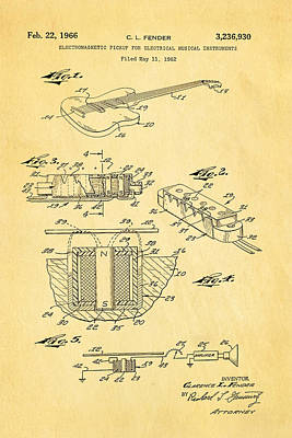 Leo Photograph - Fender Guitar Pickup Patent Art 1966  by Ian Monk