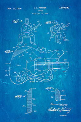 Leo Photograph - Fender Jazzmaster Guitar Patent Art 1960 Blueprint by Ian Monk