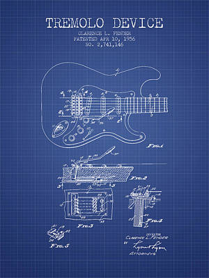 Acoustic Guitar Digital Art - Fender Tremolo Device Patent From 1956 - Blueprint by Aged Pixel