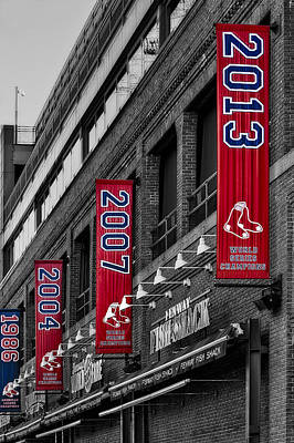 Stadium Photograph - Fenway Boston Red Sox Champions Banners by Susan Candelario