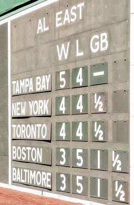Boston Red Sox Photograph - Fenway Park Al East Scoreboard Standings by Susan Candelario