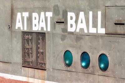 Boston Red Sox Photograph - Fenway Park At Bat - Ball Scoreboard by Susan Candelario