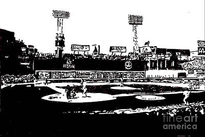 Fenway Park Drawing - Fenway Park Drawing by Rob Monte