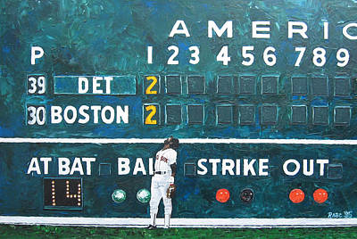 Baseball Parks Painting - Fenway Park - Green Monster by Mike Rabe