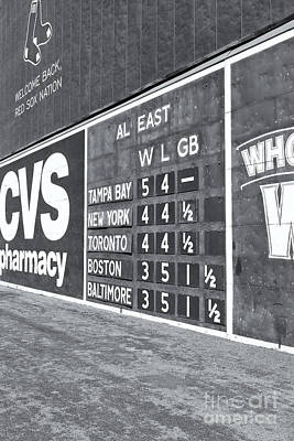 Boston Red Sox Photograph - Fenway Park Green Monster Scoreboard II by Clarence Holmes