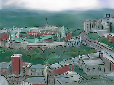 Fenway Park Drawing - Fenway Park In The Mist by Jean Pacheco Ravinski