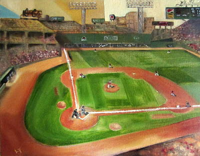Baseball Stadium Painting - Fenway Park by Lindsay Frost