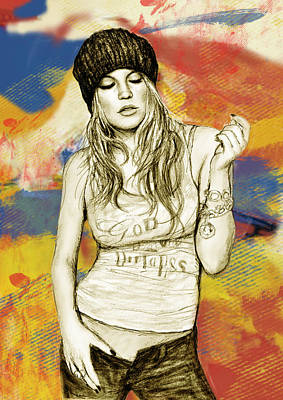 American Singer Mixed Media - Fergie - Stylised Drawing Art Poster by Kim Wang