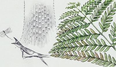 Fern And Ancient Lizard Print by Deagostini/uig