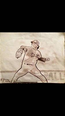 Babe Ruth Drawing - Fernando Valenzuela by Mario  Jimenez