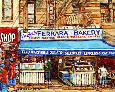 Ferrara Bakery New York City Bakery Paintings Carole Spandau Print by Carole Spandau