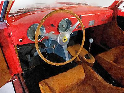 Old Mixed Media - Ferrari 225 S Berlinetta Interior Watercolor by Naxart Studio