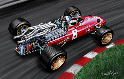 Carlo Painting - Ferrari 312 F-1 Car by David Kyte
