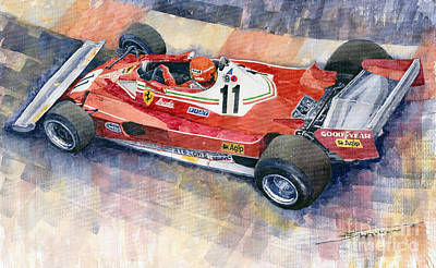 Watercolor Painting - Ferrari 312 T2 Niki Lauda 1977 Monaco Gp by Yuriy  Shevchuk
