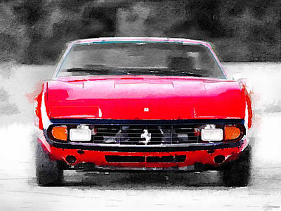Old Mixed Media - Ferrari 365 Gtc4 Front Watercolor by Naxart Studio